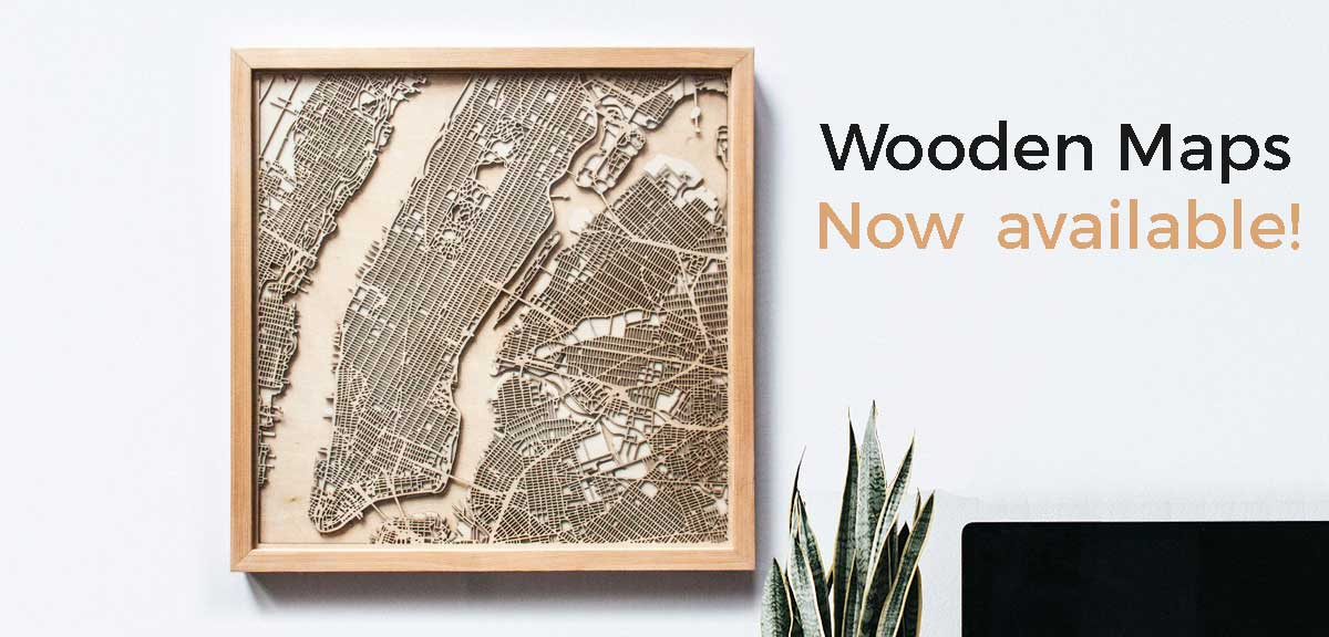 The City Wood New York wood wooden map maps